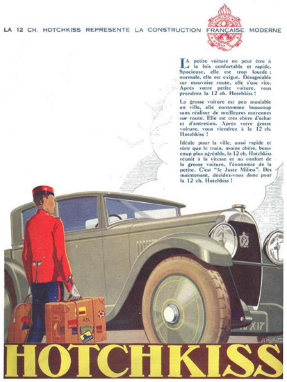 Roaring 1920s Hotchkiss 1927 Construction Francaise Moderne | Roaring 1920s Ad Art and Magazine Cover Art
