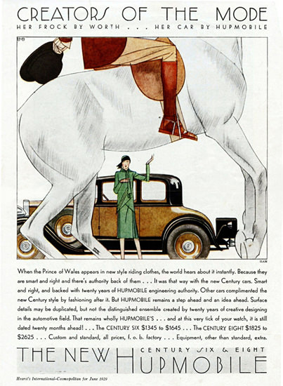 Roaring 1920s Hupmobile Century 1929 Creators Of The Mode | Roaring 1920s Ad Art and Magazine Cover Art