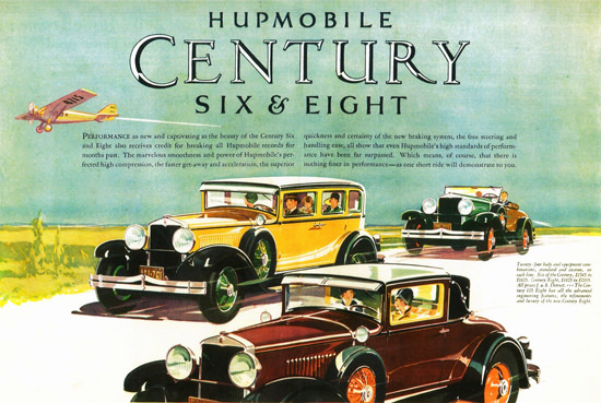 Roaring 1920s Hupmobile Century Sedan Coupe Roadster 1928 | Roaring 1920s Ad Art and Magazine Cover Art