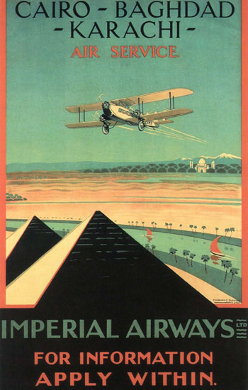 Roaring 1920s Imperial Airways Cairo-Baghdad-Karachi Air 1926 | Roaring 1920s Ad Art and Magazine Cover Art
