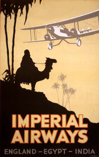 Roaring 1920s Imperial Airways England-Egypt-India 1927 | Roaring 1920s Ad Art and Magazine Cover Art