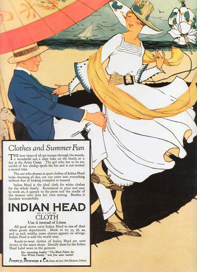 Roaring 1920s Indian Head Clothes And Summer Fun 1920 | Roaring 1920s Ad Art and Magazine Cover Art