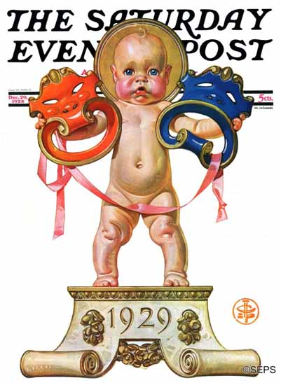 Roaring 1920s JC Leyendecker Artist Saturday Evening Post 1928_12_29 | Roaring 1920s Ad Art and Magazine Cover Art