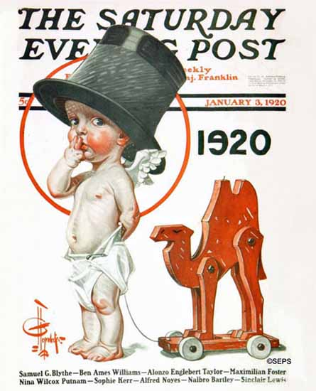 Roaring 1920s JC Leyendecker Saturday Evening Post 1920_01_03 | Roaring 1920s Ad Art and Magazine Cover Art