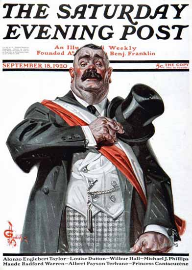 Roaring 1920s JC Leyendecker Saturday Evening Post 1920_09_18 | Roaring 1920s Ad Art and Magazine Cover Art