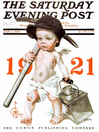 Roaring 1920s JC Leyendecker Saturday Evening Post 1921_01_01 | Roaring 1920s Ad Art and Magazine Cover Art