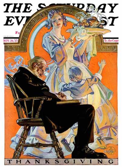 Roaring 1920s JC Leyendecker Saturday Evening Post 1927_11_26 | Roaring 1920s Ad Art and Magazine Cover Art
