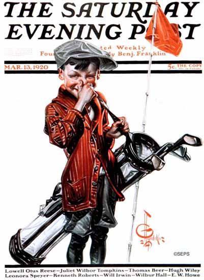 Roaring 1920s JC Leyendecker Saturday Evening Post Caddie 1920_03_13 | Roaring 1920s Ad Art and Magazine Cover Art