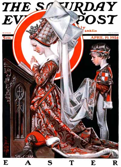 Roaring 1920s JC Leyendecker Saturday Evening Post Easter 1924_04_19 | Roaring 1920s Ad Art and Magazine Cover Art