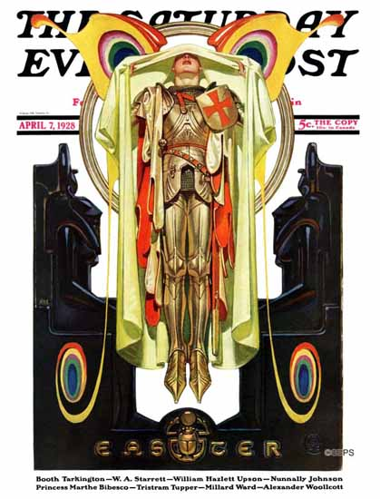 Roaring 1920s JC Leyendecker Saturday Evening Post Easter 1928_04_07 | Roaring 1920s Ad Art and Magazine Cover Art