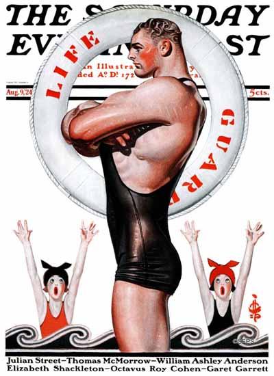 Roaring 1920s JC Leyendecker Saturday Evening Post Guard 1924_08_09 | Roaring 1920s Ad Art and Magazine Cover Art