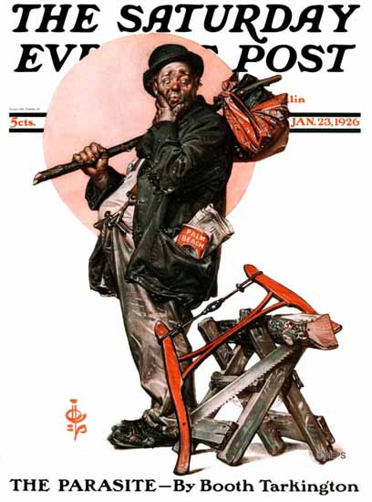 Roaring 1920s JC Leyendecker Saturday Evening Post Parasite 1926_01_23 | Roaring 1920s Ad Art and Magazine Cover Art