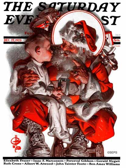 Roaring 1920s JC Leyendecker Saturday Evening Post Santa 1923_12_22 | Roaring 1920s Ad Art and Magazine Cover Art