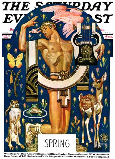 Roaring 1920s JC Leyendecker Saturday Evening Post Spring 1929_03_30 | Roaring 1920s Ad Art and Magazine Cover Art