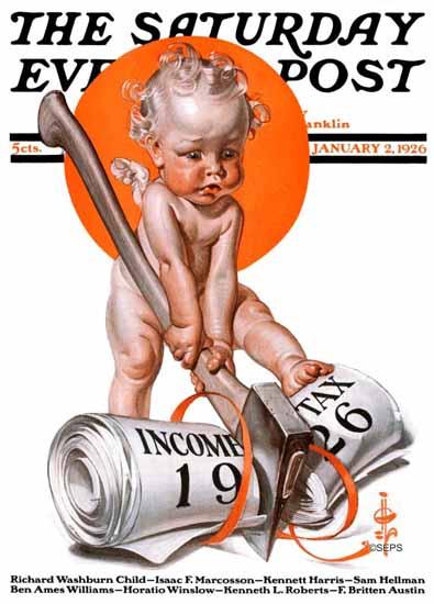 Roaring 1920s JC Leyendecker Saturday Evening Post Tax 1926_01_02 | Roaring 1920s Ad Art and Magazine Cover Art