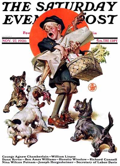 Roaring 1920s JC Leyendecker Saturday Evening Post The Raid 1926_11_27 | Roaring 1920s Ad Art and Magazine Cover Art