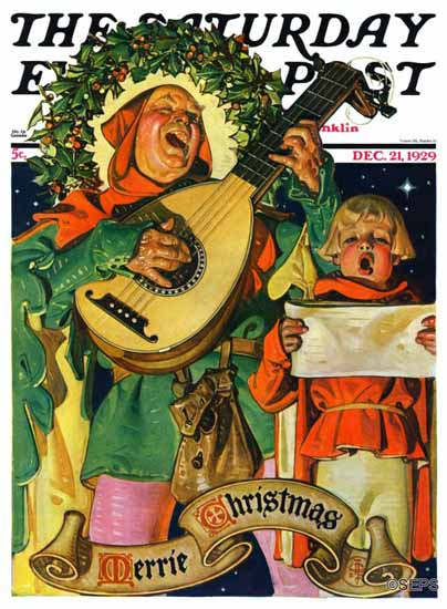 Roaring 1920s JC Leyendecker Saturday Evening Post Xmas 1929_12_21 | Roaring 1920s Ad Art and Magazine Cover Art