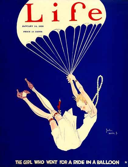 Roaring 1920s John Held Jr Life Cover Balloon Ride 1926-01-14 Copyright   Roaring 1920s Ad Art and Magazine Cover Art