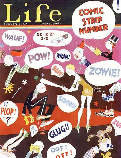 Roaring 1920s John Held Jr Life Cover Comic Strip 1927-02-03 Copyright | Roaring 1920s Ad Art and Magazine Cover Art
