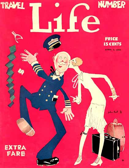 Roaring 1920s John Held Jr Life Cover Extra Fare 1925-04-02 Copyright | Roaring 1920s Ad Art and Magazine Cover Art