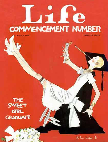 Roaring 1920s John Held Jr Life Cover Girl Graduate 1926-06-03 Copyright | Roaring 1920s Ad Art and Magazine Cover Art