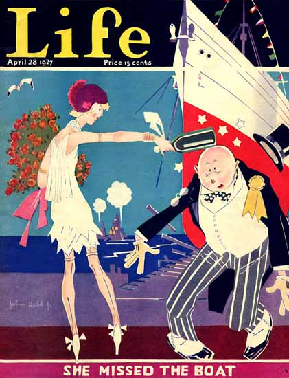 Roaring 1920s John Held Jr Life Cover Missed Boat 1927-04-28 Copyright | Roaring 1920s Ad Art and Magazine Cover Art