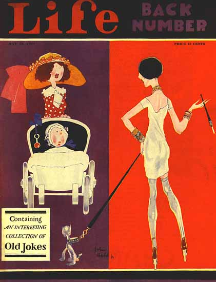 Roaring 1920s John Held Jr Life Cover Old Jokes 1927-05-19 Copyright | Roaring 1920s Ad Art and Magazine Cover Art