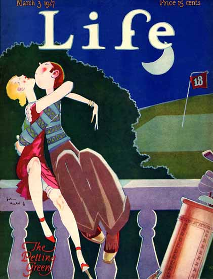 Roaring 1920s John Held Jr Life Cover Petting 1927-03-03 Copyright | Roaring 1920s Ad Art and Magazine Cover Art