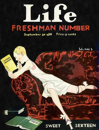 Roaring 1920s John Held Jr Life Cover Sexteen 1926-09-30 Copyright | Roaring 1920s Ad Art and Magazine Cover Art