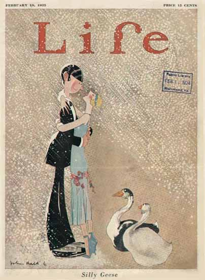 Roaring 1920s John Held Jr Life Cover Silly Geese 1925-02-19 Copyright | Roaring 1920s Ad Art and Magazine Cover Art