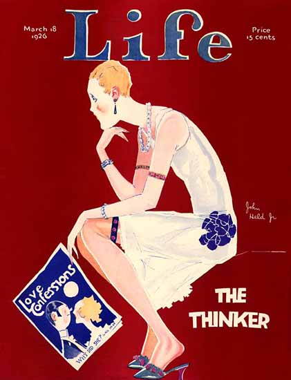Roaring 1920s John Held Jr Life Cover The Thinker 1926-03-18 Copyright | Roaring 1920s Ad Art and Magazine Cover Art