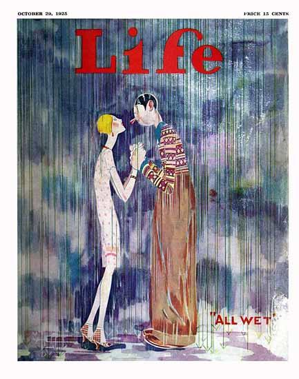 Roaring 1920s John Held Jr Life Magazine All Wet 1925-10-29 Copyright | Roaring 1920s Ad Art and Magazine Cover Art