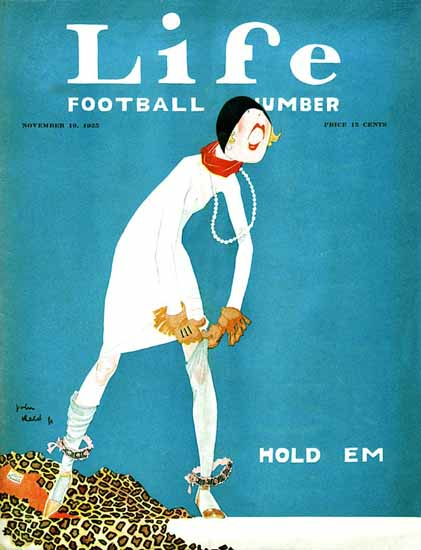 Roaring 1920s John Held Jr Life Magazine Hold Em 1925-11-19 Copyright | Roaring 1920s Ad Art and Magazine Cover Art