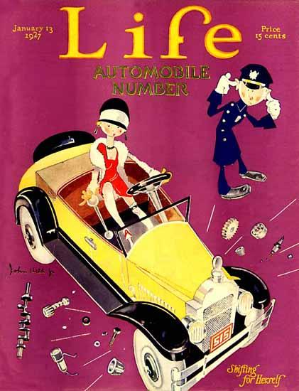 Roaring 1920s John Held Jr Life Magazine Shifting 1927-01-13 Copyright | Roaring 1920s Ad Art and Magazine Cover Art