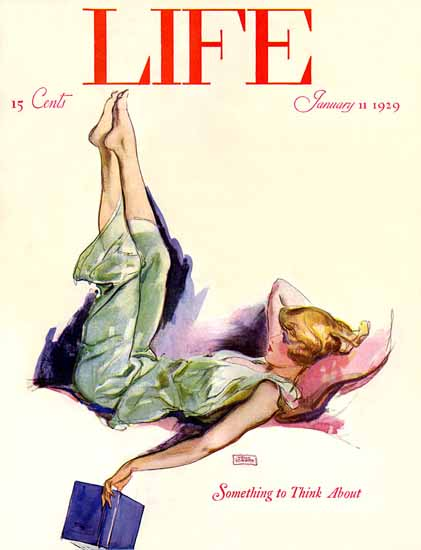 Roaring 1920s John La Gatta Life Magazine Think 1929-01-11 Copyright | Roaring 1920s Ad Art and Magazine Cover Art