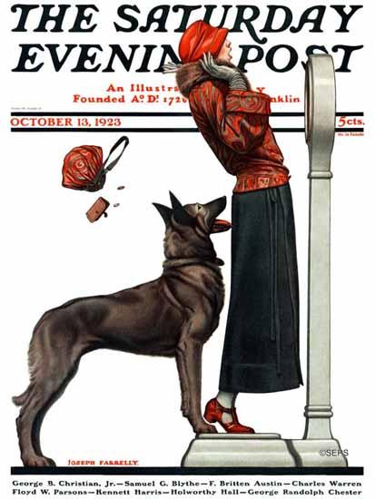 Roaring 1920s Joseph Farrelly Saturday Evening Post Surprise 1923_10_13 | Roaring 1920s Ad Art and Magazine Cover Art