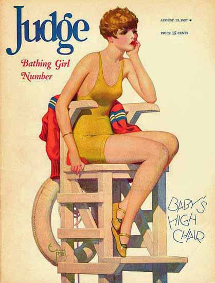 Roaring 1920s Judge Magazine Cover 1927 Babys High Chair | Roaring 1920s Ad Art and Magazine Cover Art