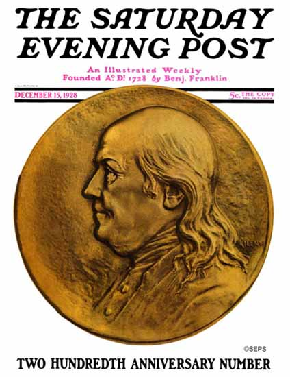Roaring 1920s Julio Kilenyi Saturday Evening Post 200 Years 1928_12_15 | Roaring 1920s Ad Art and Magazine Cover Art