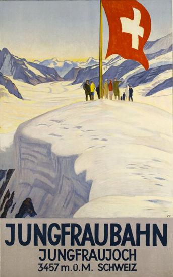 Roaring 1920s Jungfraubahn Jungfraujoch Switzerland 1928 | Roaring 1920s Ad Art and Magazine Cover Art