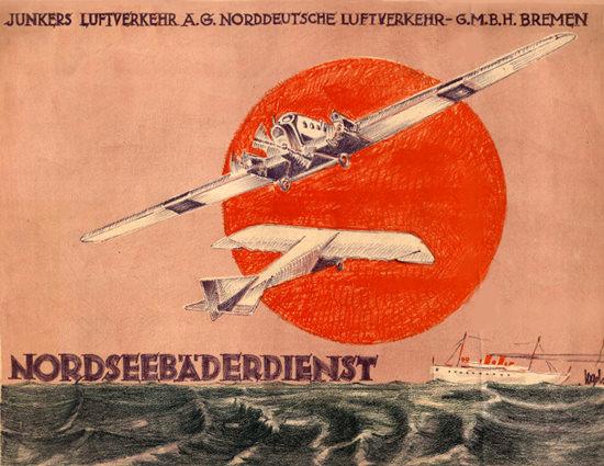 Roaring 1920s Junkers Luftverkehr Bremen Nordseebaeder 1923 | Roaring 1920s Ad Art and Magazine Cover Art