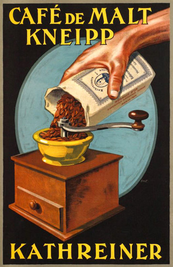 Roaring 1920s Kathreiner Kneipp Cafe De Malt 1920 | Roaring 1920s Ad Art and Magazine Cover Art