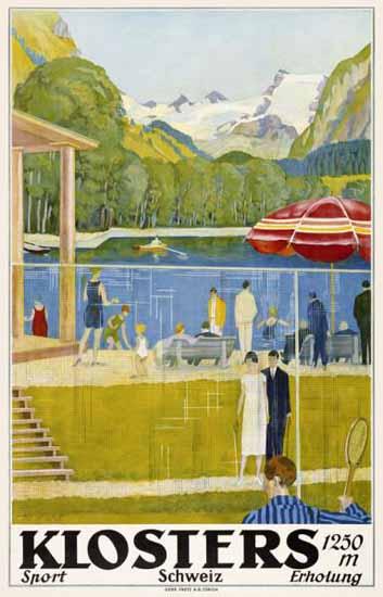 Roaring 1920s Klosters Schweiz 1250m Sport Erholung Switzerland 1926 | Roaring 1920s Ad Art and Magazine Cover Art
