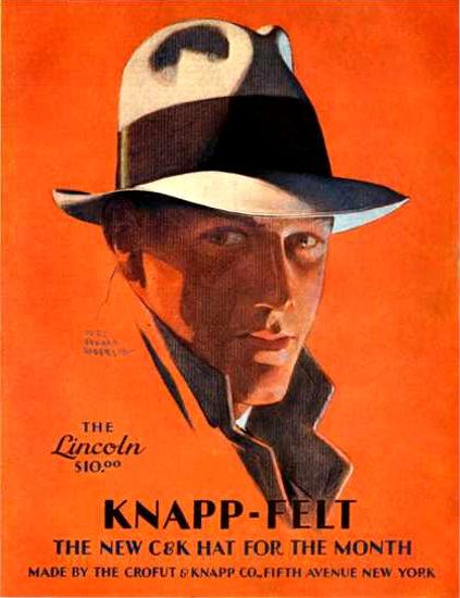 Roaring 1920s Knapp-Felt Lincoln Hat Of Month New York 1920 | Roaring 1920s Ad Art and Magazine Cover Art