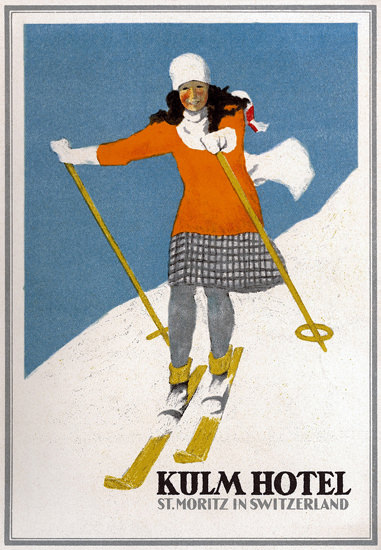 Roaring 1920s Kulm Hotel St Moritz In Switzerland 1925 | Roaring 1920s Ad Art and Magazine Cover Art