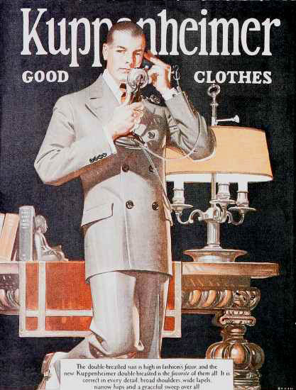 Roaring 1920s Kuppenheimer Good Clothes Suit Chicago 1920s | Roaring 1920s Ad Art and Magazine Cover Art