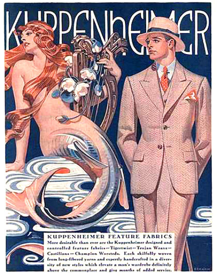 Roaring 1920s Kuppenheimer Mermaid Good Clothes Suits 1929 | Roaring 1920s Ad Art and Magazine Cover Art