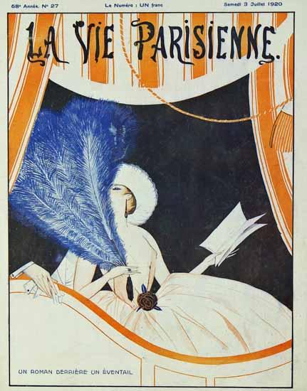 Roaring 1920s La Vie Parisienne 1920 Derriere Un Eventail   Roaring 1920s Ad Art and Magazine Cover Art