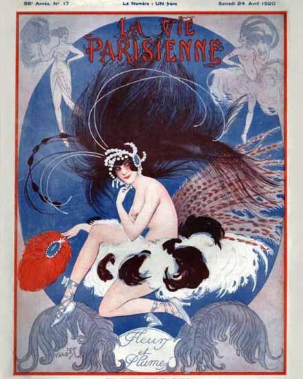 Roaring 1920s La Vie Parisienne 1920 Fleur Et Plumes | Roaring 1920s Ad Art and Magazine Cover Art