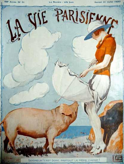 Roaring 1920s La Vie Parisienne 1920 La Meme Chose Georges Leonnec | Roaring 1920s Ad Art and Magazine Cover Art