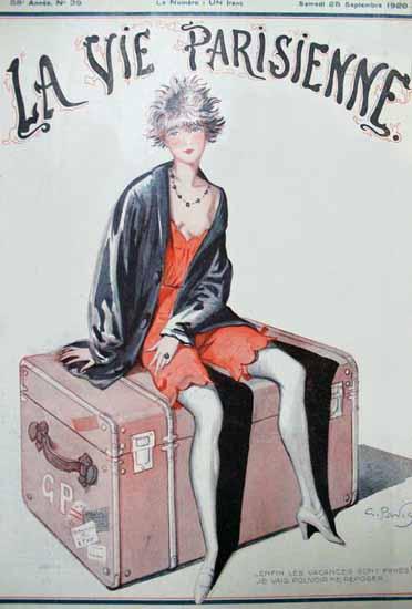 Roaring 1920s La Vie Parisienne 1920 Les Vacances Sont Finies | Roaring 1920s Ad Art and Magazine Cover Art